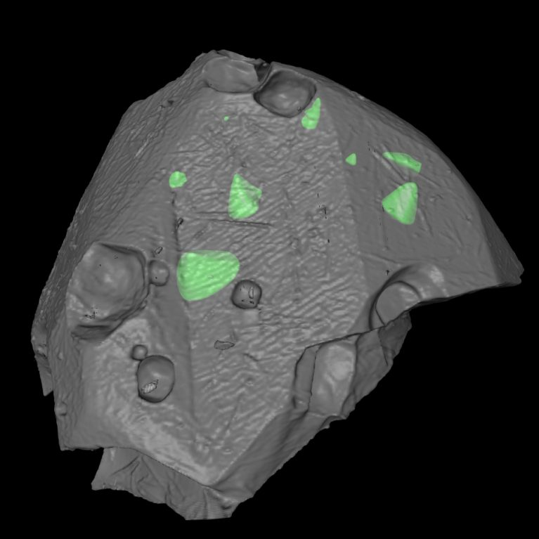 An extraterrestrial chromite grain showing inclusions (green) of the silicate matrix from the host asteroid.